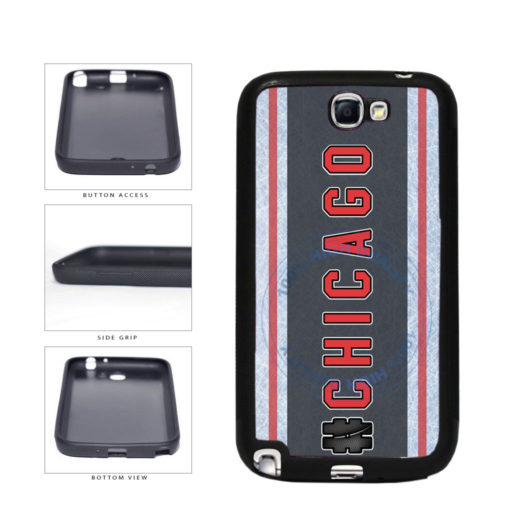 Hockey Team Hashtag Chicago #Chicago TPU Rubber SILICONE Phone Case Back Cover For Samsung Galaxy Note II 2 N7100 includes BleuReign(TM) Cloth and Warranty Label