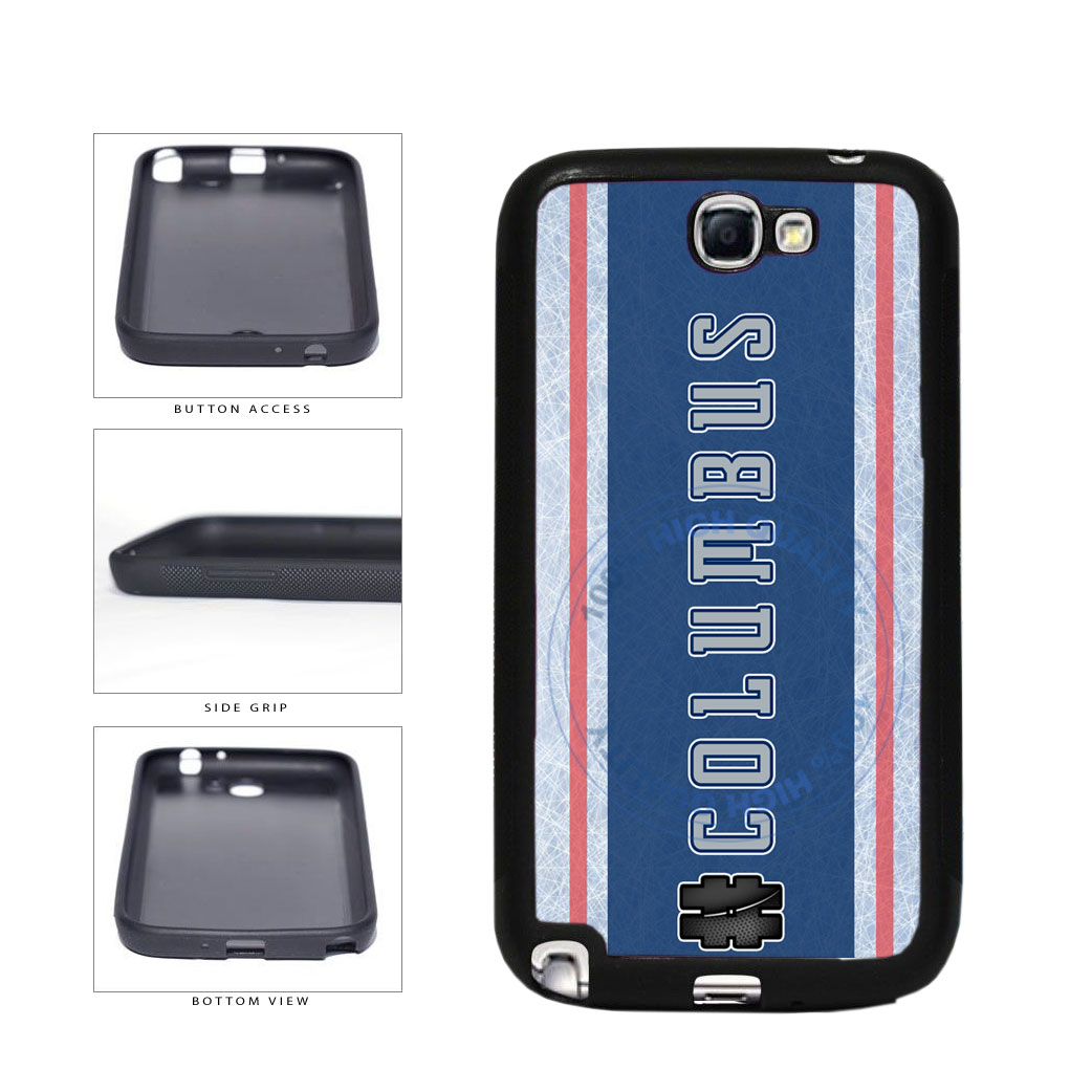 Hockey Team Hashtag Columbus #Columbus TPU Rubber SILICONE Phone Case Back Cover For Samsung Galaxy Note II 2 N7100 includes BleuReign(TM) Cloth and Warranty Label
