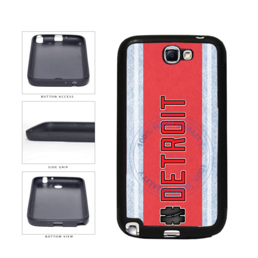 Hockey Team Hashtag Detroit #Detroit TPU Rubber SILICONE Phone Case Back Cover For Samsung Galaxy Note II 2 N7100 includes BleuReign(TM) Cloth and Warranty Label