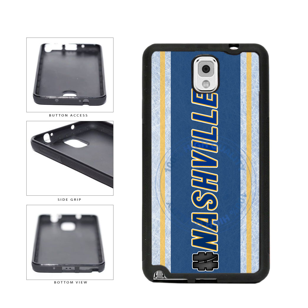 Hockey Team Hashtag Nashville #Nashville TPU Rubber SILICONE Phone Case Back Cover For Samsung Galaxy Note III 3 N9002 includes BleuReign(TM) Cloth and Warranty Label
