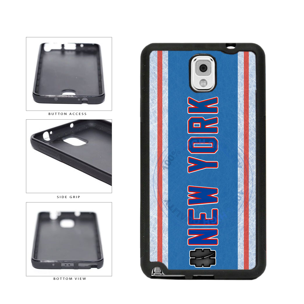 Hockey Team Hashtag New York Blue and Red #NewYork TPU Rubber SILICONE Phone Case Back Cover For Samsung Galaxy Note III 3 N9002 includes BleuReign(TM) Cloth and Warranty Label