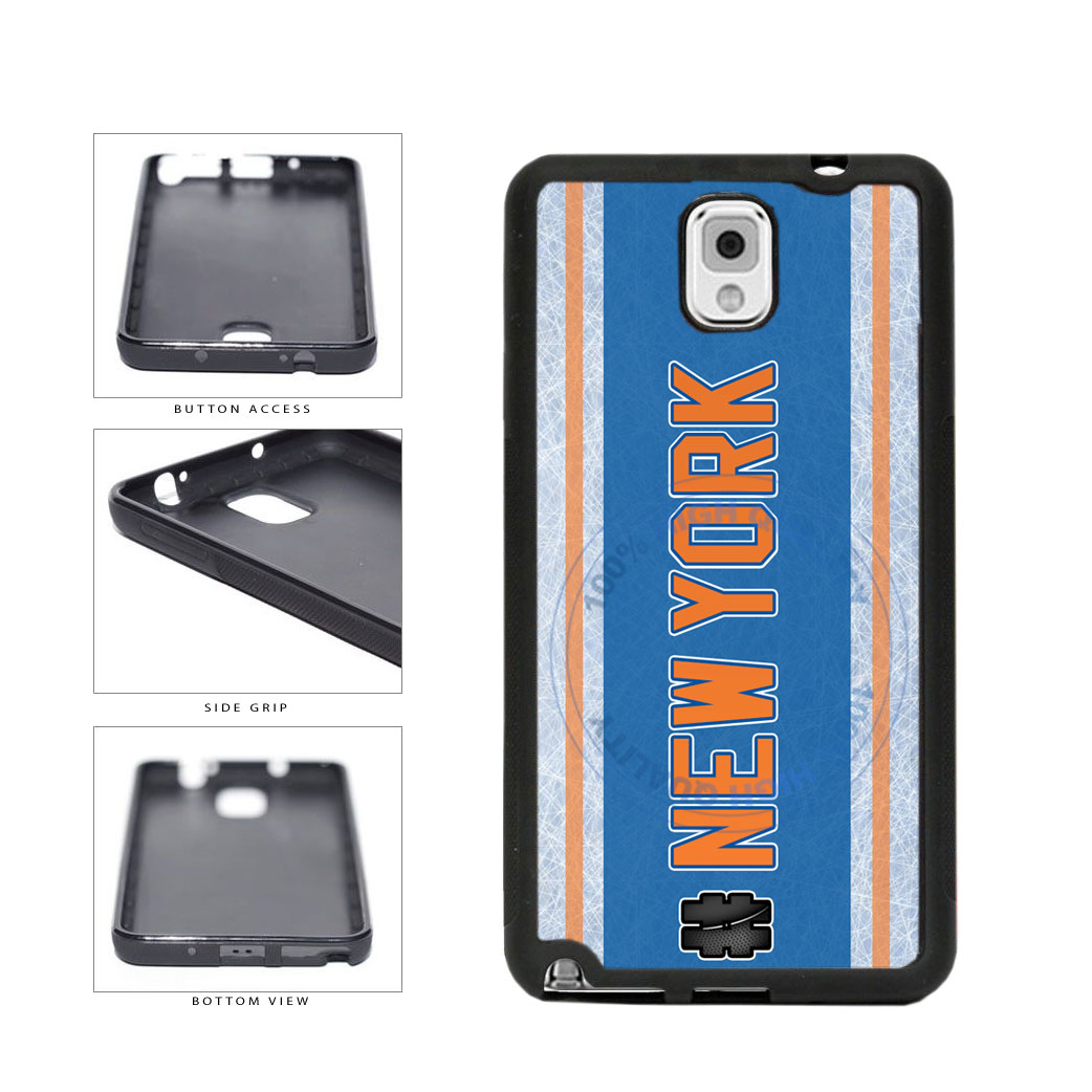 Hockey Team Hashtag New York Orange #NewYork TPU Rubber SILICONE Phone Case Back Cover For Samsung Galaxy Note III 3 N9002 includes BleuReign(TM) Cloth and Warranty Label