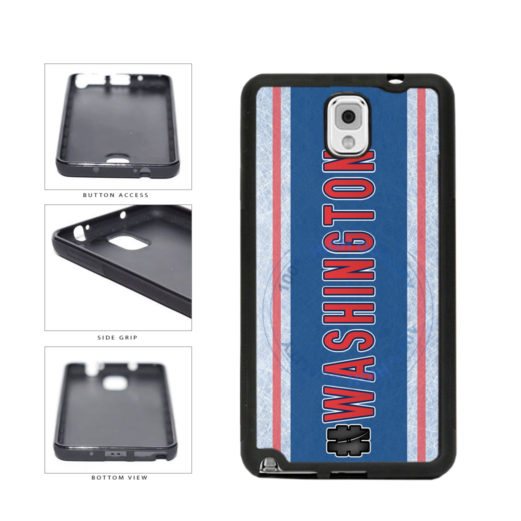 Hockey Team Hashtag Washington #Washington TPU Rubber SILICONE Phone Case Back Cover For Samsung Galaxy Note III 3 N9002 includes BleuReign(TM) Cloth and Warranty Label