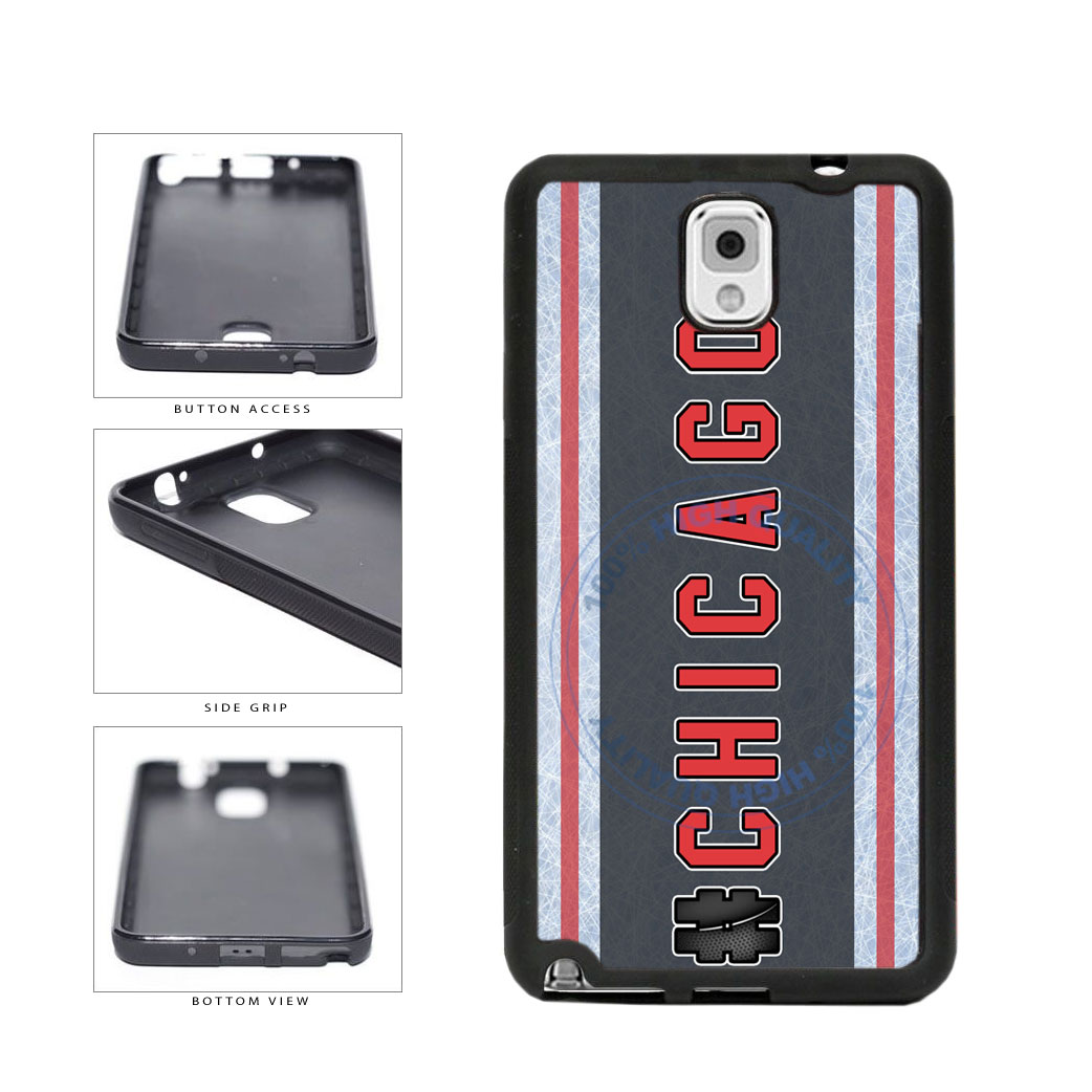 Hockey Team Hashtag Chicago #Chicago TPU Rubber SILICONE Phone Case Back Cover For Samsung Galaxy Note III 3 N9002 includes BleuReign(TM) Cloth and Warranty Label