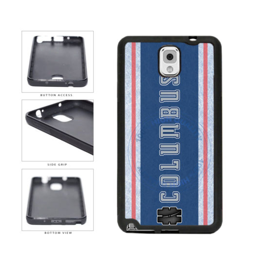 Hockey Team Hashtag Columbus #Columbus TPU Rubber SILICONE Phone Case Back Cover For Samsung Galaxy Note III 3 N9002 includes BleuReign(TM) Cloth and Warranty Label