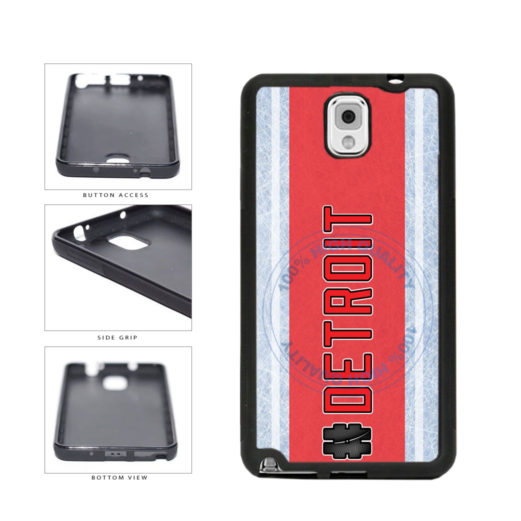 Hockey Team Hashtag Detroit #Detroit TPU Rubber SILICONE Phone Case Back Cover For Samsung Galaxy Note III 3 N9002 includes BleuReign(TM) Cloth and Warranty Label