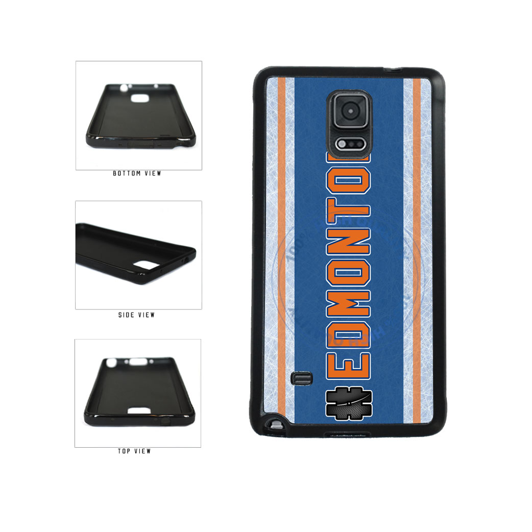 Hockey Team Hashtag Edmonton #Edmonton TPU Rubber SILICONE Phone Case Back Cover For Samsung Galaxy Note IV 4 N910 includes BleuReign(TM) Cloth and Warranty Label