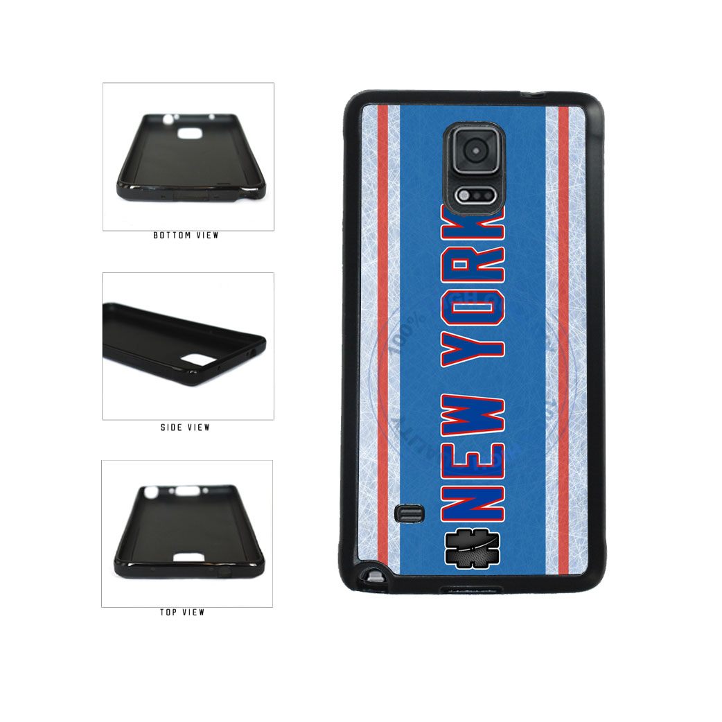 Hockey Team Hashtag New York Blue and Red #NewYork TPU Rubber SILICONE Phone Case Back Cover For Samsung Galaxy Note IV 4 N910 includes BleuReign(TM) Cloth and Warranty Label