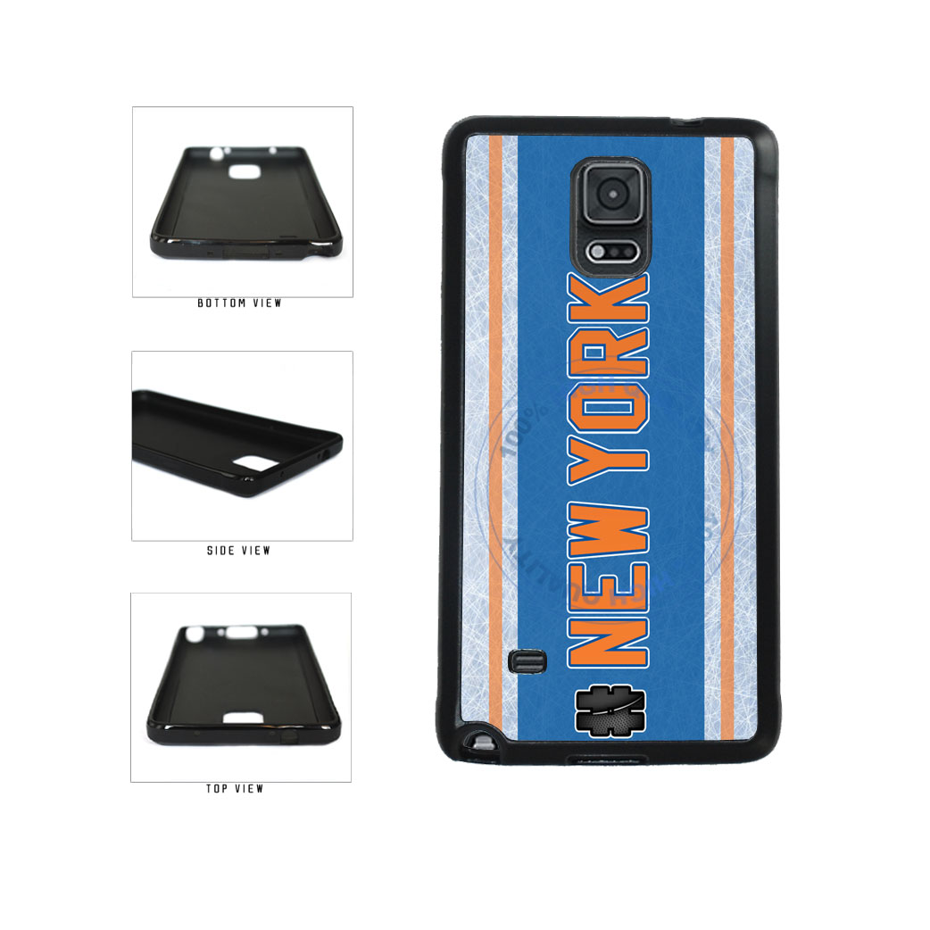 Hockey Team Hashtag New York Orange #NewYork TPU Rubber SILICONE Phone Case Back Cover For Samsung Galaxy Note IV 4 N910 includes BleuReign(TM) Cloth and Warranty Label