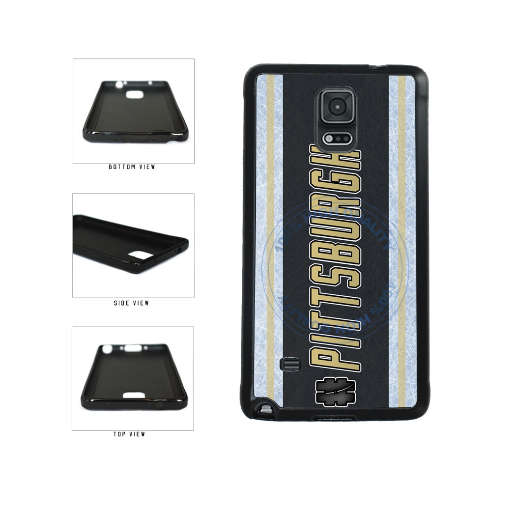 Hockey Team Hashtag Pittsburgh #Pittsburgh TPU Rubber SILICONE Phone Case Back Cover For Samsung Galaxy Note IV 4 N910 includes BleuReign(TM) Cloth and Warranty Label