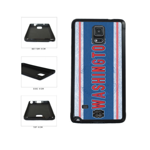 Hockey Team Hashtag Washington #Washington TPU Rubber SILICONE Phone Case Back Cover For Samsung Galaxy Note IV 4 N910 includes BleuReign(TM) Cloth and Warranty Label