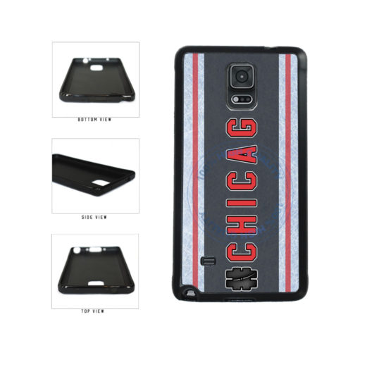 Hockey Team Hashtag Chicago #Chicago TPU Rubber SILICONE Phone Case Back Cover For Samsung Galaxy Note IV 4 N910 includes BleuReign(TM) Cloth and Warranty Label