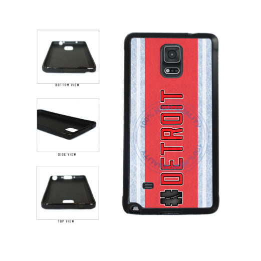 Hockey Team Hashtag Detroit #Detroit TPU Rubber SILICONE Phone Case Back Cover For Samsung Galaxy Note IV 4 N910 includes BleuReign(TM) Cloth and Warranty Label
