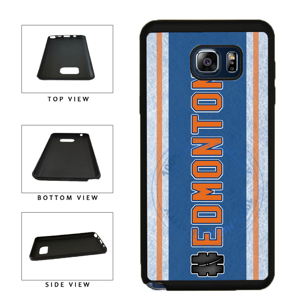 Hockey Team Hashtag Edmonton #Edmonton TPU RUBBER SILICONE Phone Case Back Cover For Samsung Galaxy Note V 5 N920 includes BleuReign(TM) Cloth and Warranty Label