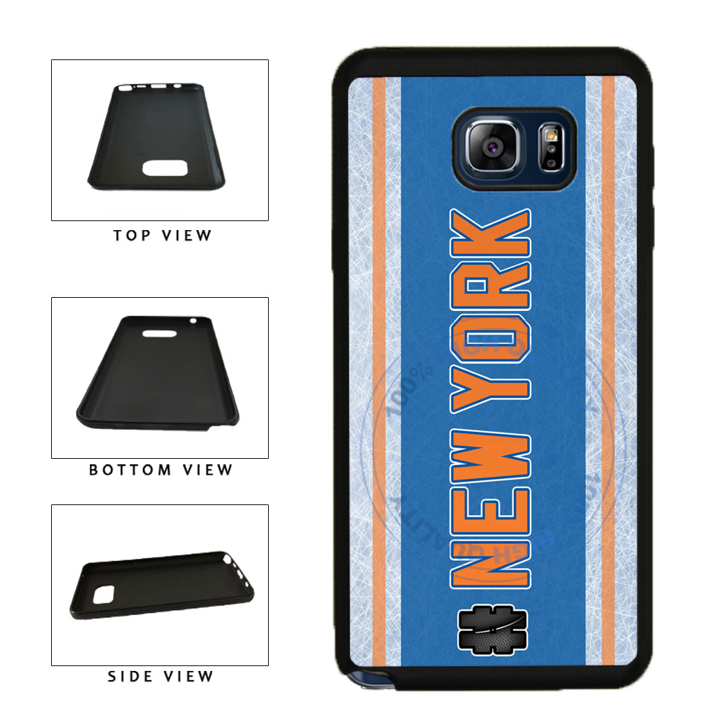 Hockey Team Hashtag New York Orange #NewYork TPU RUBBER SILICONE Phone Case Back Cover For Samsung Galaxy Note V 5 N920 includes BleuReign(TM) Cloth and Warranty Label