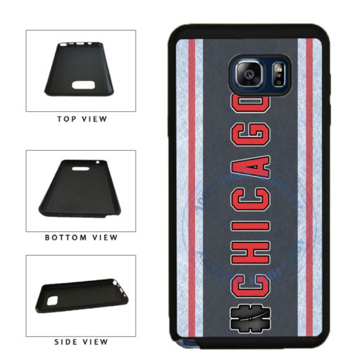 Hockey Team Hashtag Chicago #Chicago TPU RUBBER SILICONE Phone Case Back Cover For Samsung Galaxy Note V 5 N920 includes BleuReign(TM) Cloth and Warranty Label