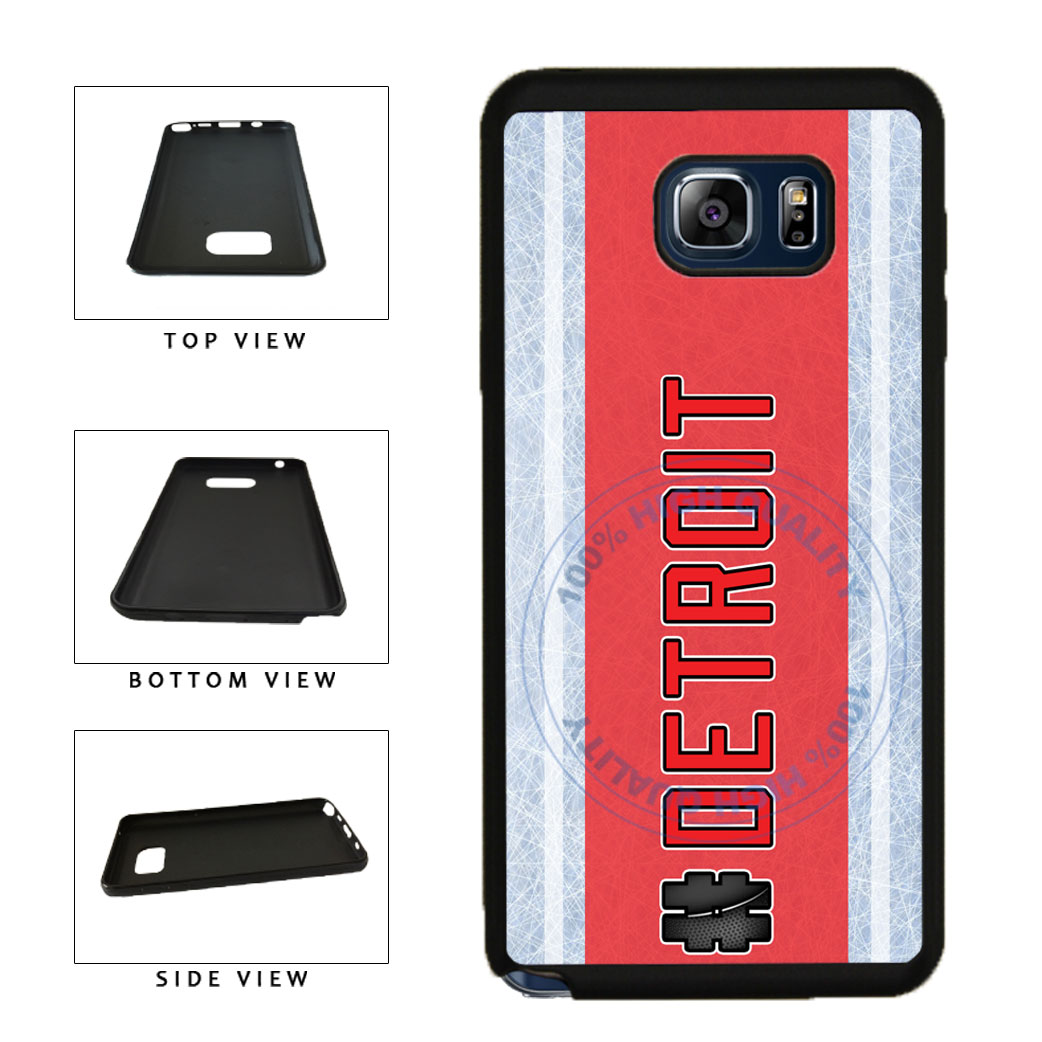 Hockey Team Hashtag Detroit #Detroit TPU RUBBER SILICONE Phone Case Back Cover For Samsung Galaxy Note V 5 N920 includes BleuReign(TM) Cloth and Warranty Label