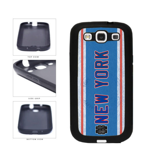 Hockey Team Hashtag New York Blue and Red #NewYork TPU Rubber SILICONE Phone Case Back Cover For Samsung Galaxy S3 I9300 includes BleuReign(TM) Cloth and Warranty Label