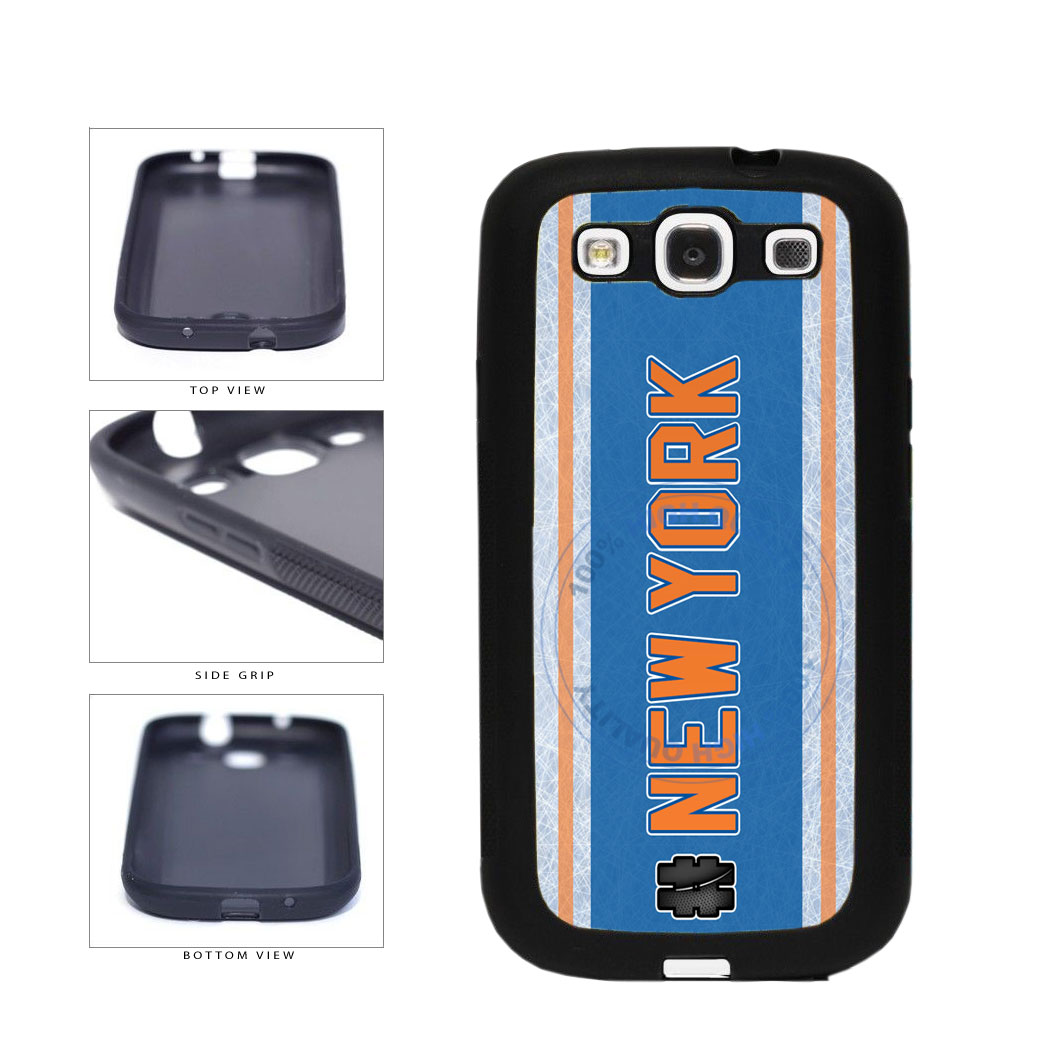 Hockey Team Hashtag New York Orange #NewYork TPU Rubber SILICONE Phone Case Back Cover For Samsung Galaxy S3 I9300 includes BleuReign(TM) Cloth and Warranty Label