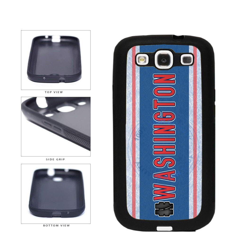 Hockey Team Hashtag Washington #Washington TPU Rubber SILICONE Phone Case Back Cover For Samsung Galaxy S3 I9300 includes BleuReign(TM) Cloth and Warranty Label