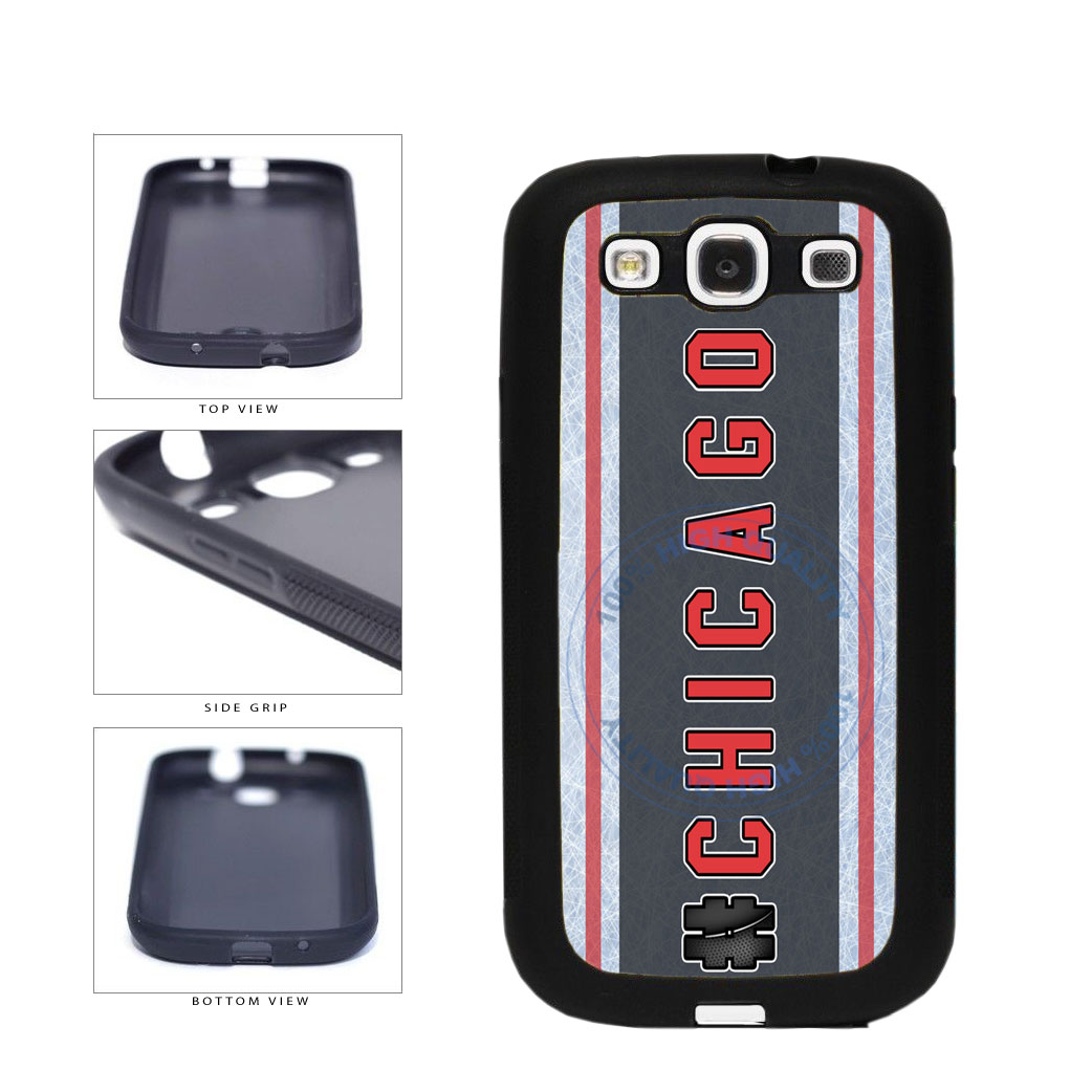 Hockey Team Hashtag Chicago #Chicago TPU Rubber SILICONE Phone Case Back Cover For Samsung Galaxy S3 I9300 includes BleuReign(TM) Cloth and Warranty Label