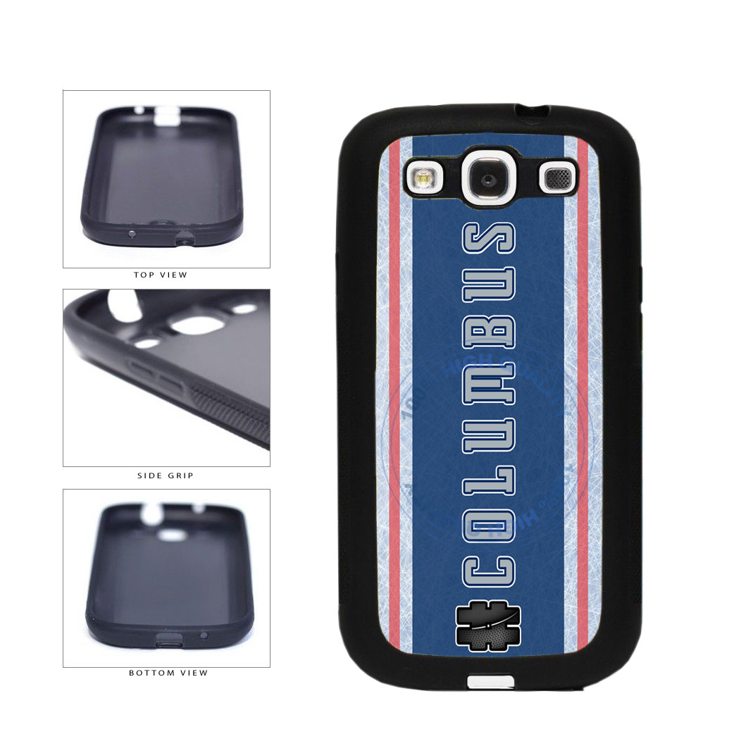 Hockey Team Hashtag Columbus #Columbus TPU Rubber SILICONE Phone Case Back Cover For Samsung Galaxy S3 I9300 includes BleuReign(TM) Cloth and Warranty Label