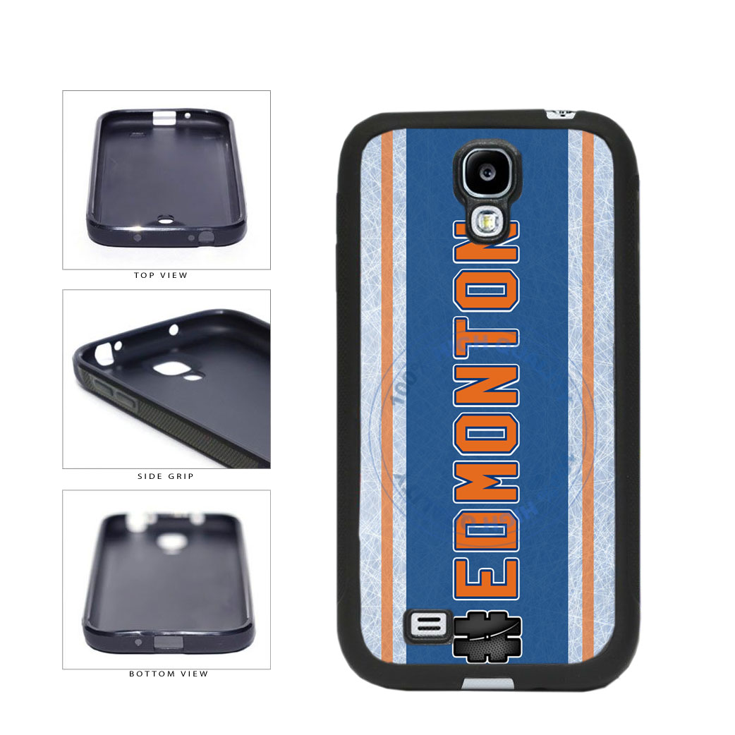 Hockey Team Hashtag Edmonton #Edmonton TPU Rubber SILICONE Phone Case Back Cover For Samsung Galaxy S4 I9500 includes BleuReign(TM) Cloth and Warranty Label
