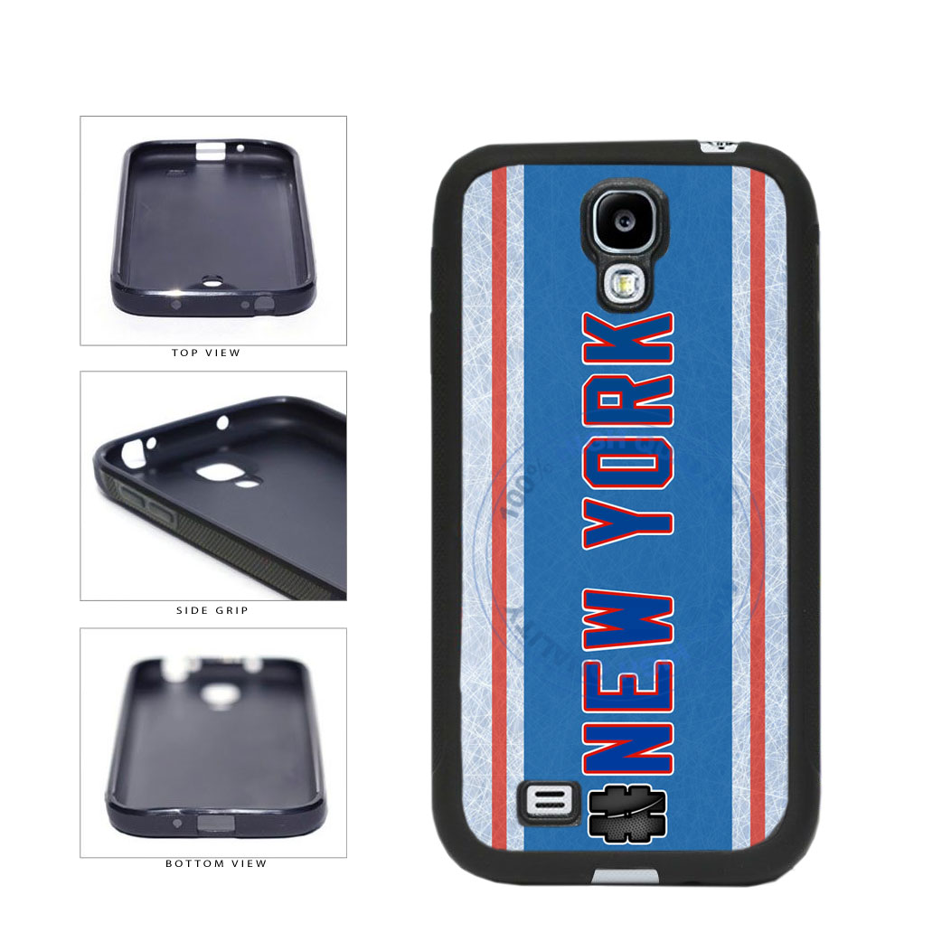 Hockey Team Hashtag New York Blue and Red #NewYork TPU Rubber SILICONE Phone Case Back Cover For Samsung Galaxy S4 I9500 includes BleuReign(TM) Cloth and Warranty Label
