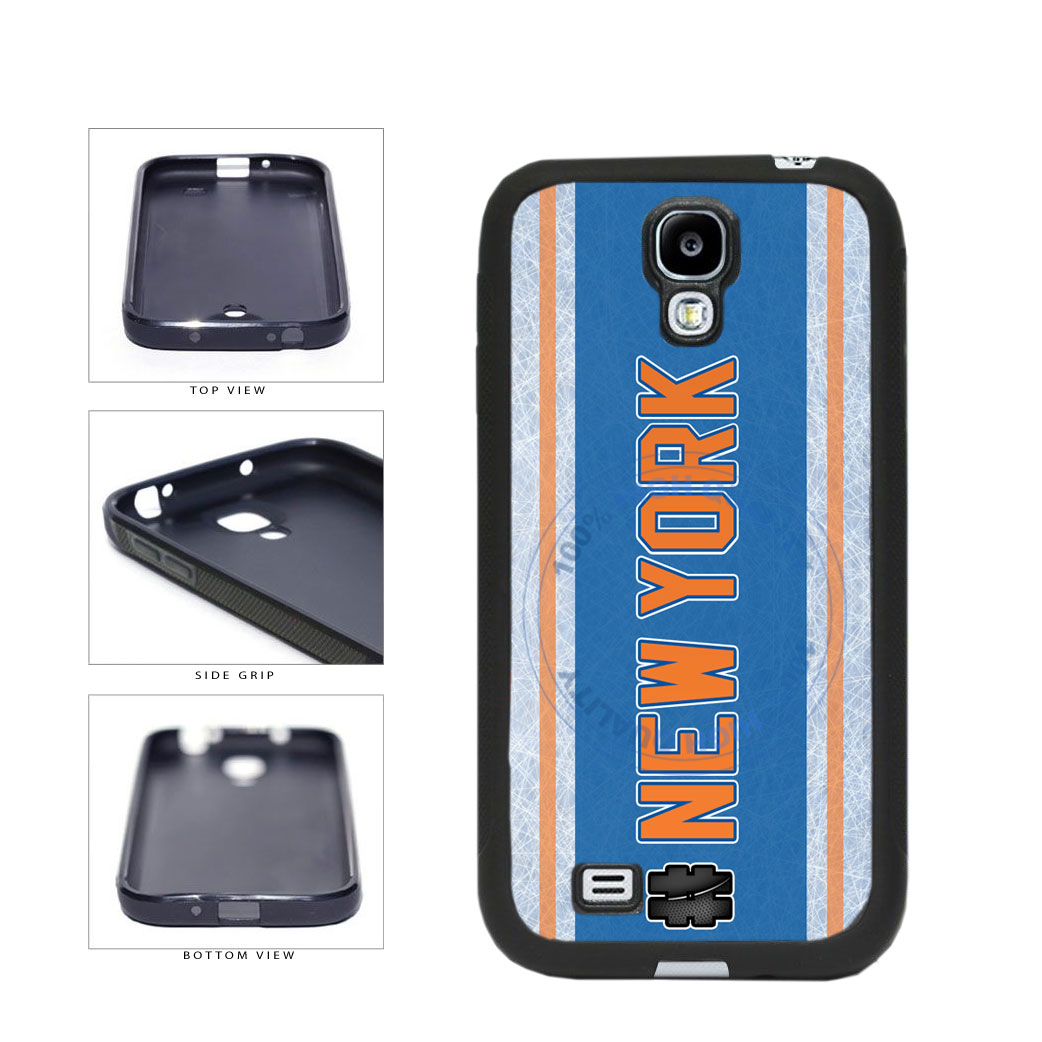 Hockey Team Hashtag New York Orange #NewYork TPU Rubber SILICONE Phone Case Back Cover For Samsung Galaxy S4 I9500 includes BleuReign(TM) Cloth and Warranty Label