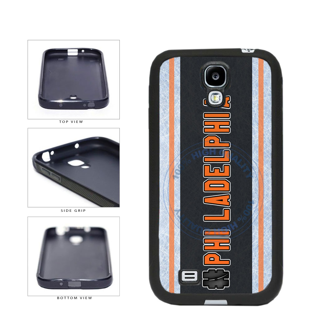 Hockey Team Hashtag Philadelphia #Philadelphia TPU Rubber SILICONE Phone Case Back Cover For Samsung Galaxy S4 I9500 includes BleuReign(TM) Cloth and Warranty Label