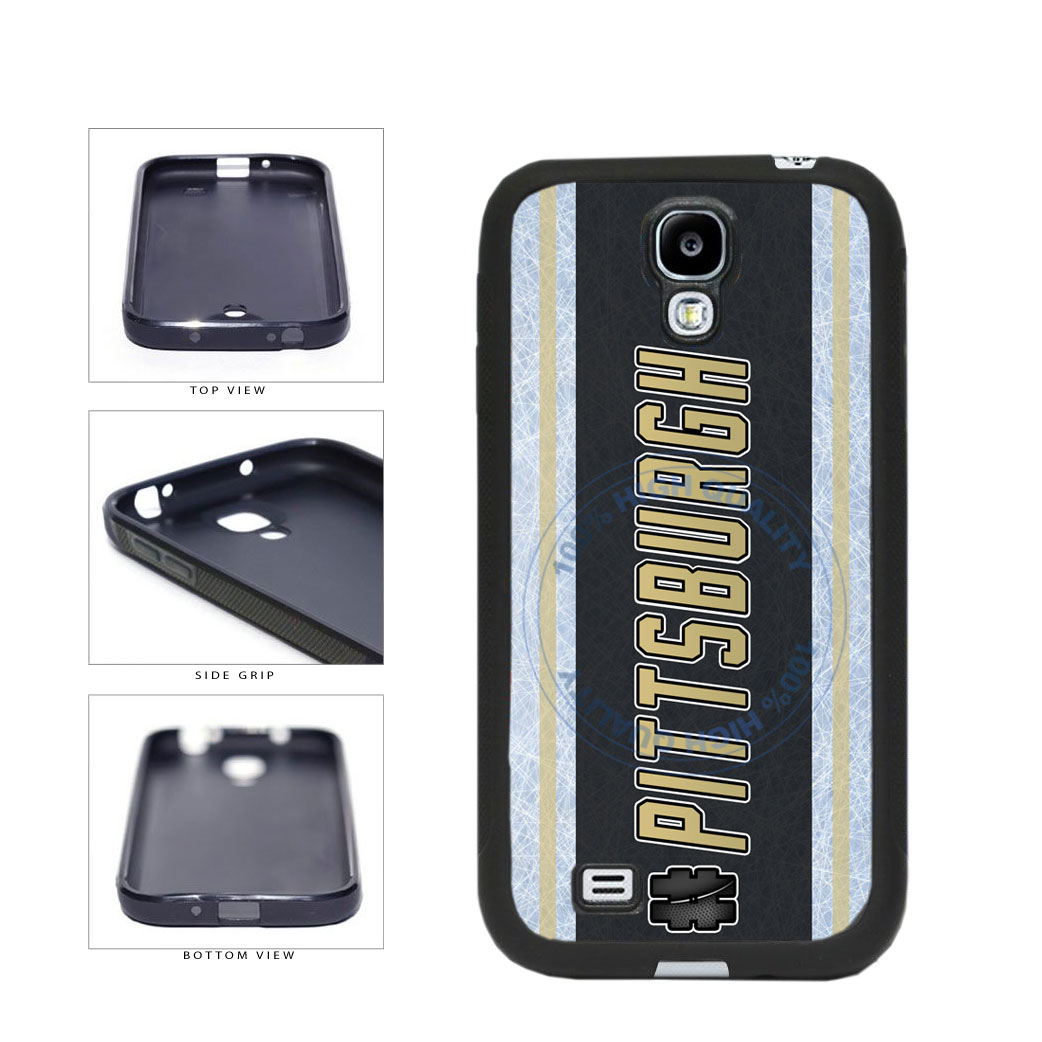 Hockey Team Hashtag Pittsburgh #Pittsburgh TPU Rubber SILICONE Phone Case Back Cover For Samsung Galaxy S4 I9500 includes BleuReign(TM) Cloth and Warranty Label