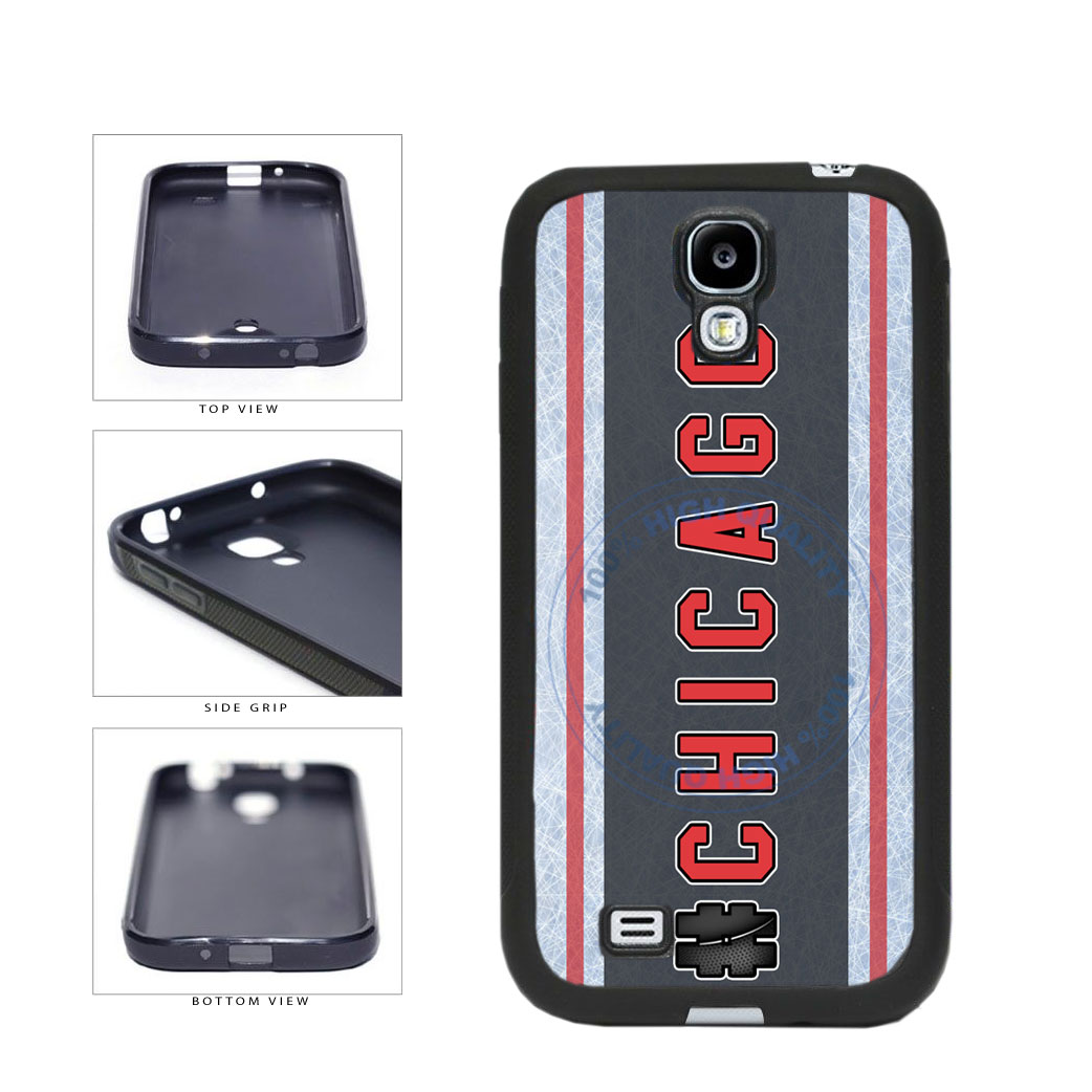 Hockey Team Hashtag Chicago #Chicago TPU Rubber SILICONE Phone Case Back Cover For Samsung Galaxy S4 I9500 includes BleuReign(TM) Cloth and Warranty Label