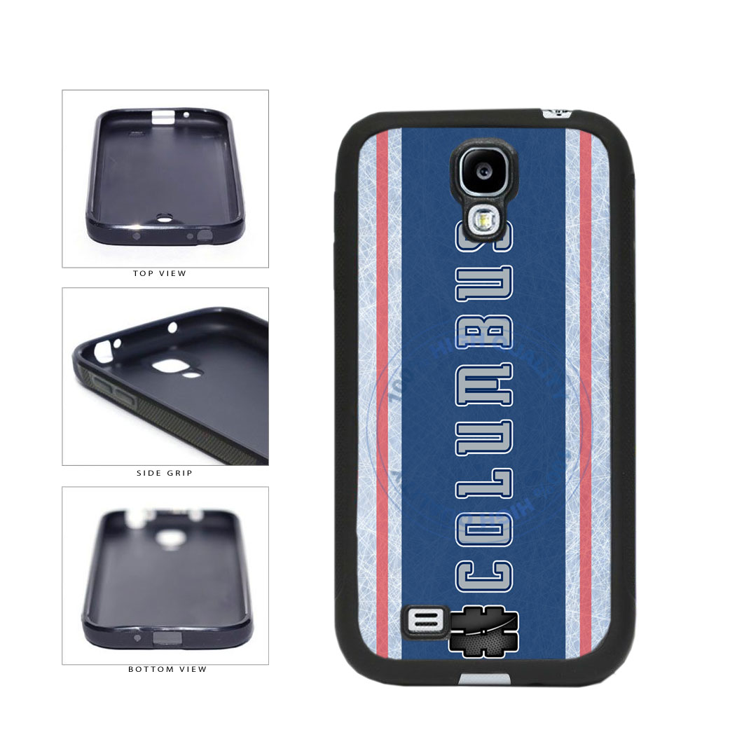 Hockey Team Hashtag Columbus #Columbus TPU Rubber SILICONE Phone Case Back Cover For Samsung Galaxy S4 I9500 includes BleuReign(TM) Cloth and Warranty Label