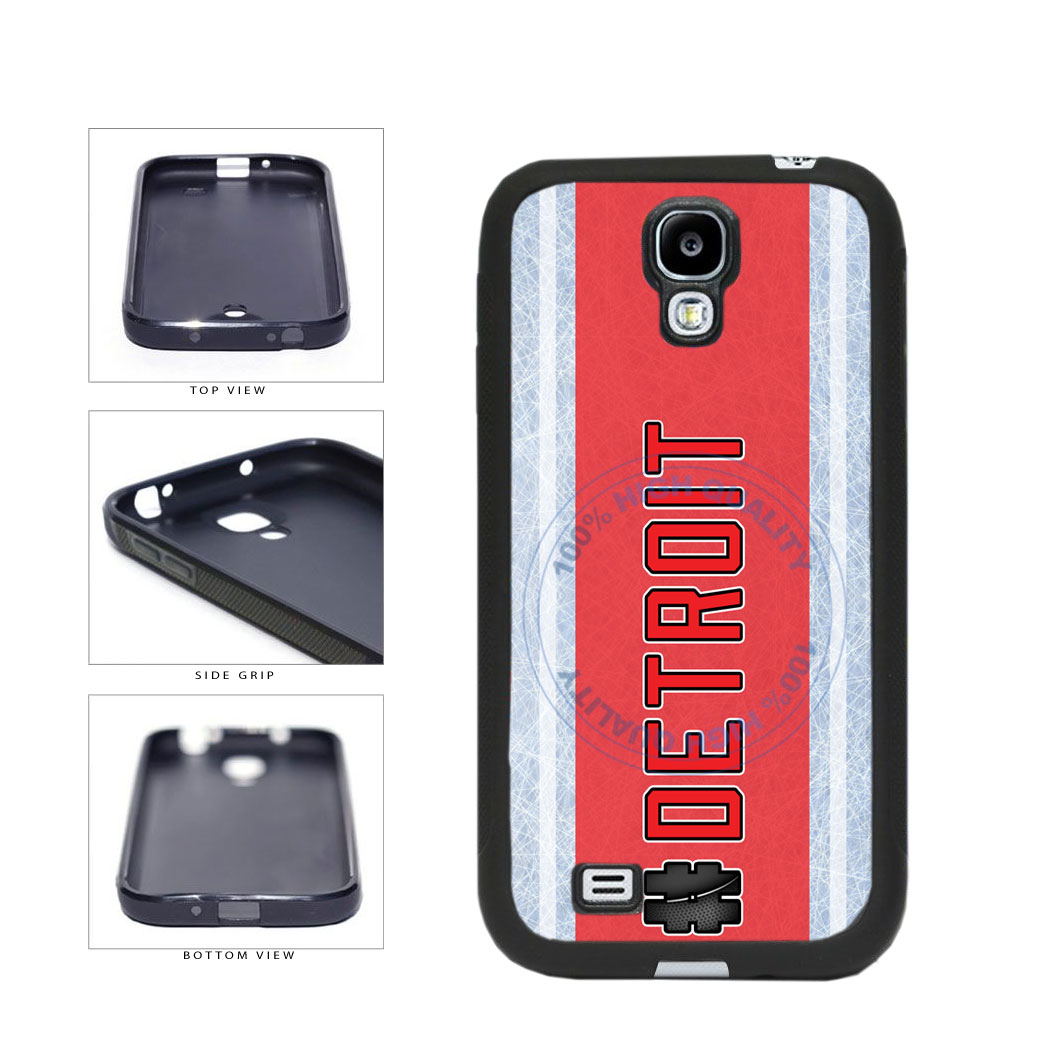Hockey Team Hashtag Detroit #Detroit TPU Rubber SILICONE Phone Case Back Cover For Samsung Galaxy S4 I9500 includes BleuReign(TM) Cloth and Warranty Label