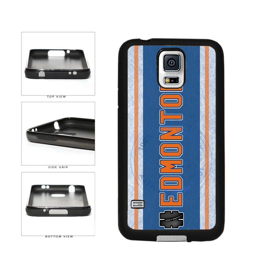 Hockey Team Hashtag Edmonton #Edmonton TPU Rubber SILICONE Phone Case Back Cover For Samsung Galaxy S5 I9600 includes BleuReign(TM) Cloth and Warranty Label