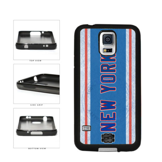 Hockey Team Hashtag New York Blue and Red #NewYork TPU Rubber SILICONE Phone Case Back Cover For Samsung Galaxy S5 I9600 includes BleuReign(TM) Cloth and Warranty Label
