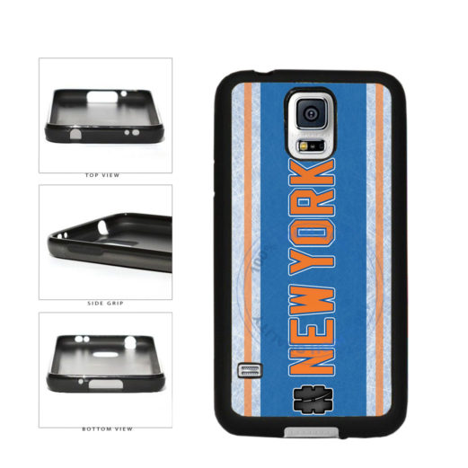 Hockey Team Hashtag New York Orange #NewYork TPU Rubber SILICONE Phone Case Back Cover For Samsung Galaxy S5 I9600 includes BleuReign(TM) Cloth and Warranty Label