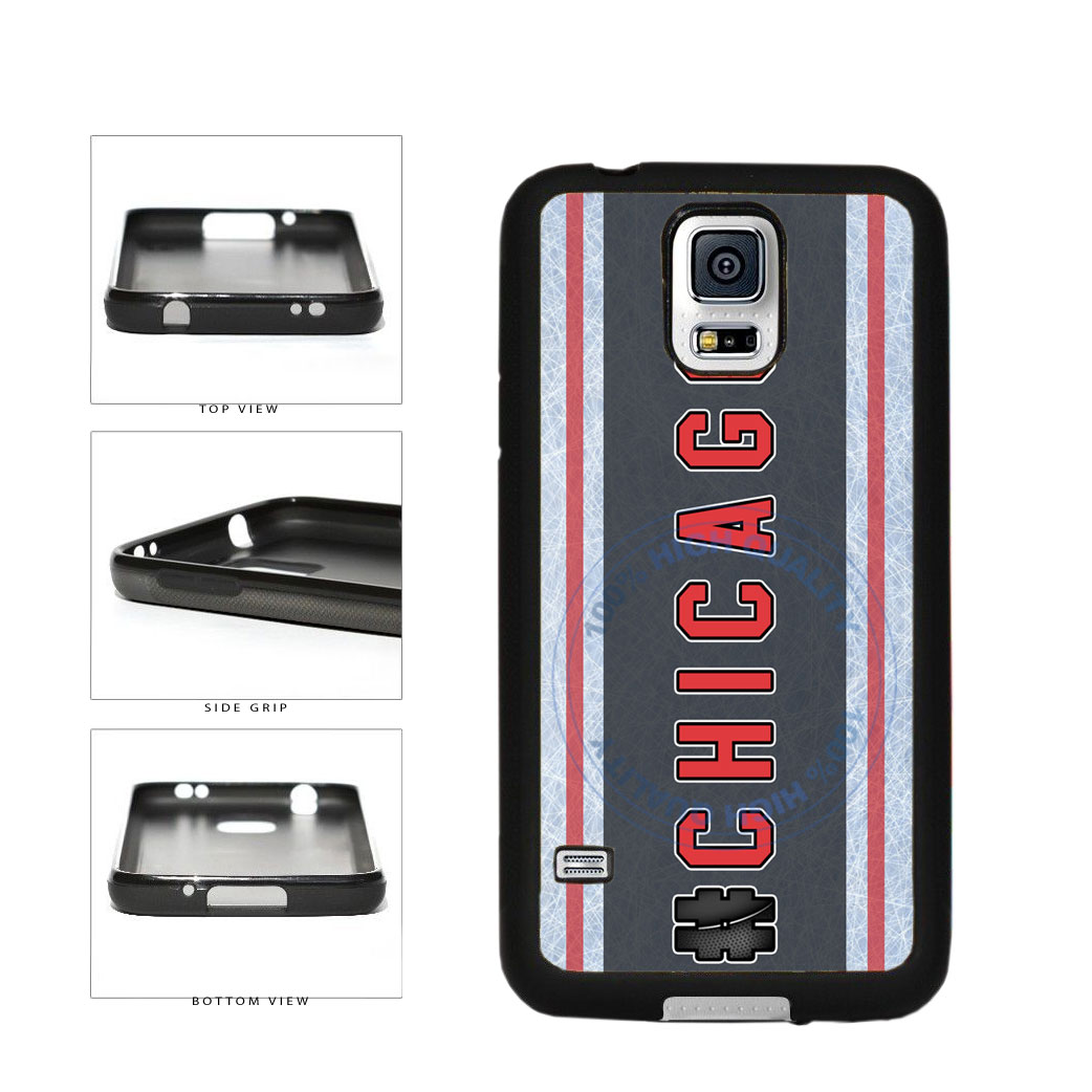 Hockey Team Hashtag Chicago #Chicago TPU Rubber SILICONE Phone Case Back Cover For Samsung Galaxy S5 I9600 includes BleuReign(TM) Cloth and Warranty Label
