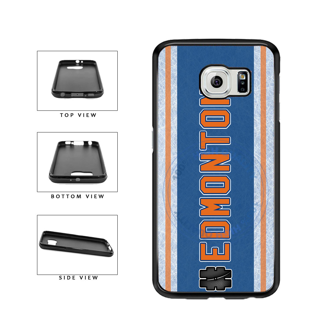Hockey Team Hashtag Edmonton #Edmonton TPU Rubber SILICONE Phone Case Back Cover For Samsung Galaxy S6 Edge G925 includes BleuReign(TM) Cloth and Warranty Label