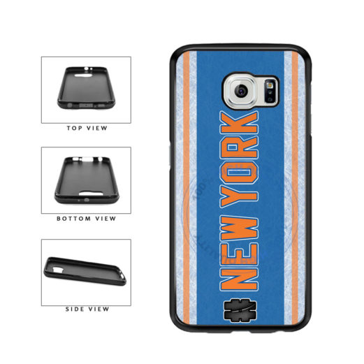 Hockey Team Hashtag New York Orange #NewYork TPU Rubber SILICONE Phone Case Back Cover For Samsung Galaxy S6 Edge G925 includes BleuReign(TM) Cloth and Warranty Label