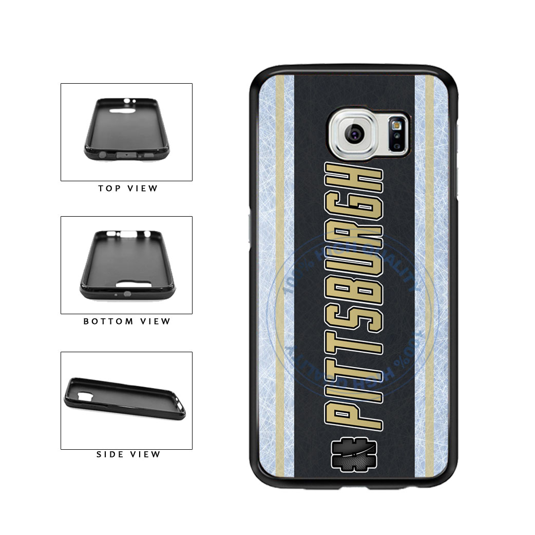 Hockey Team Hashtag Pittsburgh #Pittsburgh TPU Rubber SILICONE Phone Case Back Cover For Samsung Galaxy S6 Edge G925 includes BleuReign(TM) Cloth and Warranty Label