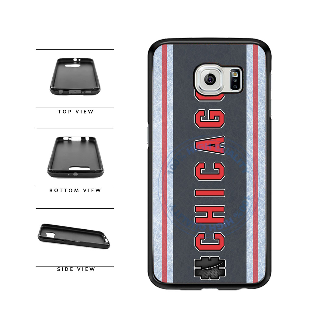 Hockey Team Hashtag Chicago #Chicago TPU Rubber SILICONE Phone Case Back Cover For Samsung Galaxy S6 Edge G925 includes BleuReign(TM) Cloth and Warranty Label