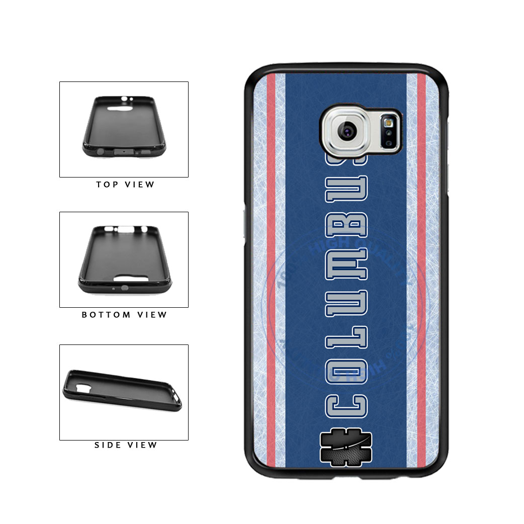 Hockey Team Hashtag Columbus #Columbus TPU Rubber SILICONE Phone Case Back Cover For Samsung Galaxy S6 Edge G925 includes BleuReign(TM) Cloth and Warranty Label