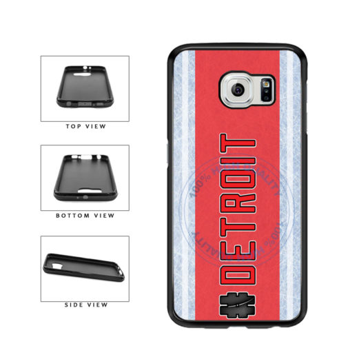 Hockey Team Hashtag Detroit #Detroit TPU Rubber SILICONE Phone Case Back Cover For Samsung Galaxy S6 Edge G925 includes BleuReign(TM) Cloth and Warranty Label