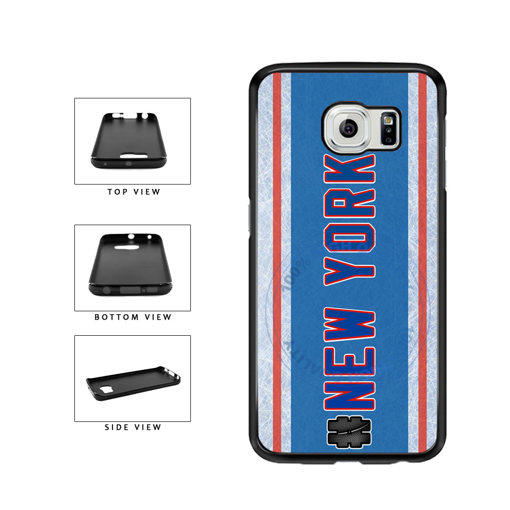 Hockey Team Hashtag New York Blue and Red #NewYork TPU Rubber SILICONE Phone Case Back Cover For Samsung Galaxy S6 G920 includes BleuReign(TM) Cloth and Warranty Label
