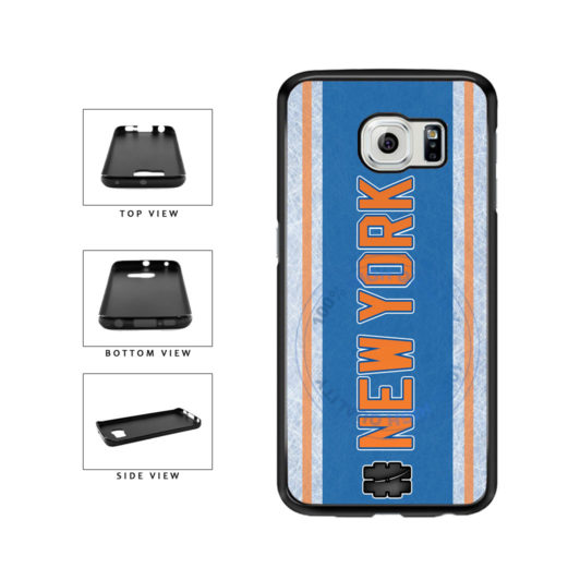 Hockey Team Hashtag New York Orange #NewYork TPU Rubber SILICONE Phone Case Back Cover For Samsung Galaxy S6 G920 includes BleuReign(TM) Cloth and Warranty Label