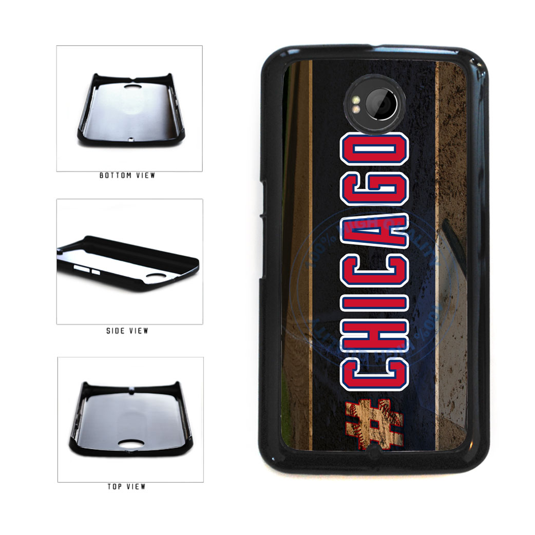 Hashtag Chicago #Chicago Blue and Red Baseball Team  Plastic Phone Case Back Cover For Google Nexus 6 includes BleuReign(TM) Cloth and Warranty Label
