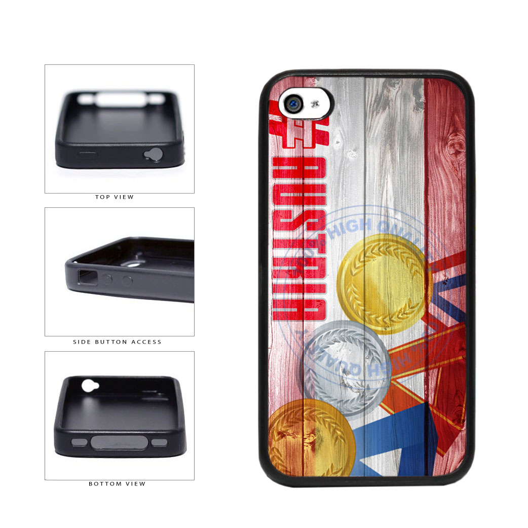 Sport Games Hashtag Team Austria #Austria TPU Rubber SILICONE Phone Case Back Cover For Apple iPhone 4 4S includes BleuReign(TM) Cloth and Warranty Label