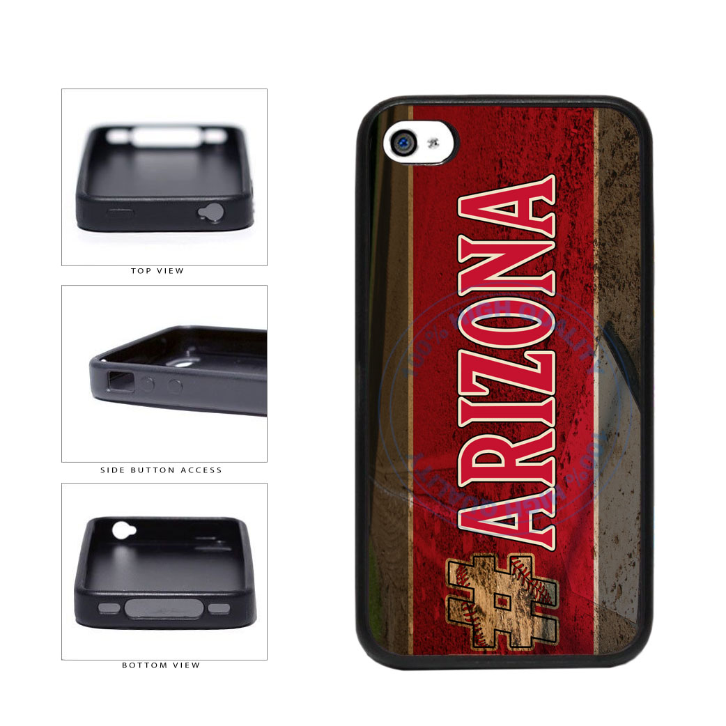 Hashtag Arizona #Arizona Baseball Team  TPU Rubber SILICONE Phone Case Back Cover For Apple iPhone 4 4S includes BleuReign(TM) Cloth and Warranty Label