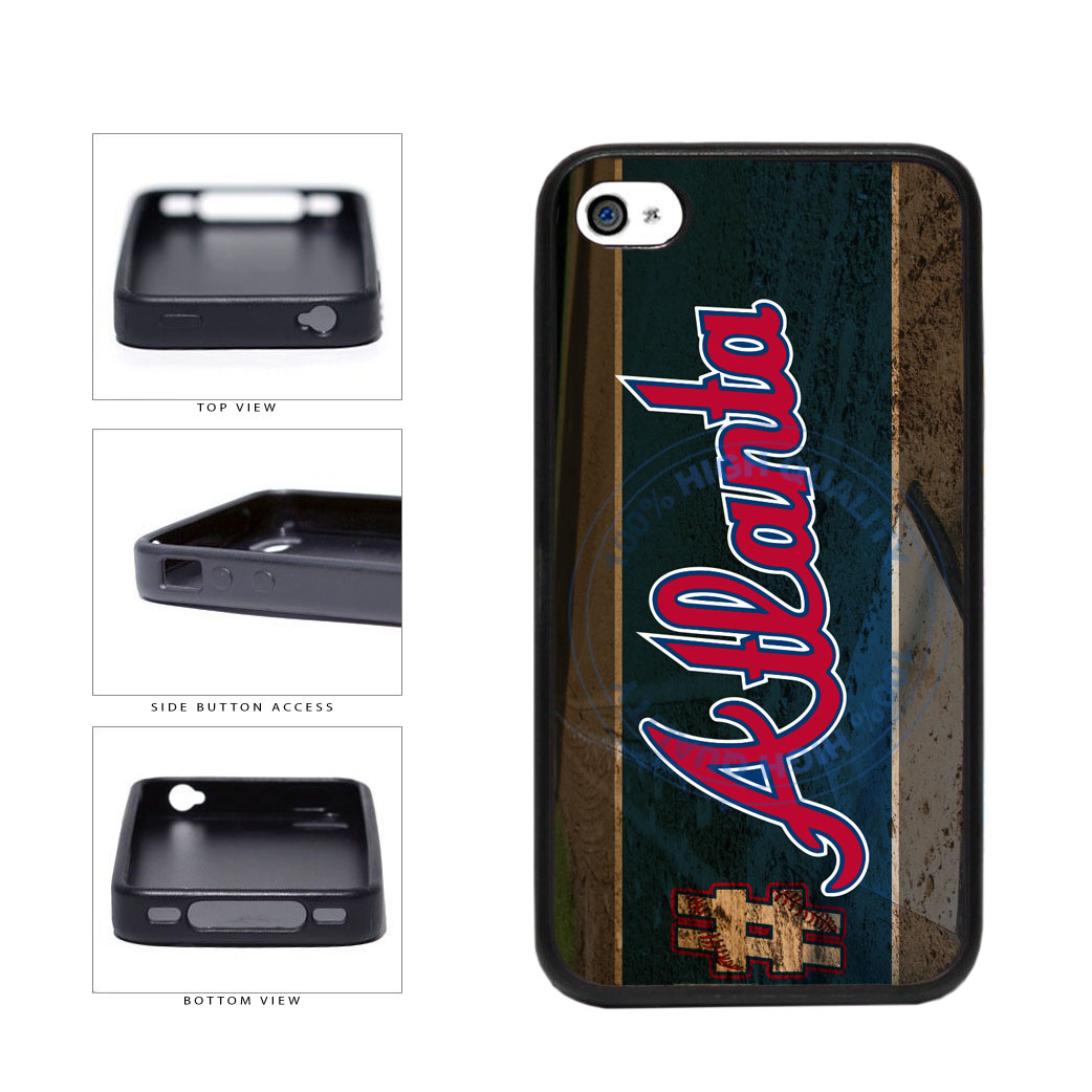 Hashtag Atlanta #Atlanta Baseball Team  TPU Rubber SILICONE Phone Case Back Cover For Apple iPhone 4 4S includes BleuReign(TM) Cloth and Warranty Label